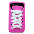 ISHOES Shoelace silicone cases covers for iPhone 4G - rose
