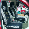 Zebra plush universal Car Seat Covers sets - black