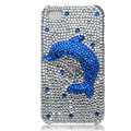 Bling Dolphin crystal cases covers for iPhone 4G - blue