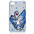 Bling Butterfly crystal cases covers for iPhone 4G - blue