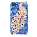 Bling Peacock S-warovski crystal cases covers for iPhone 4G - Blue