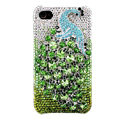 Bling Peacock S-warovski crystal cases covers for iPhone 4G - Green