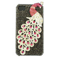 Bling Peacock S-warovski crystal cases covers for iPhone 4G - Grey