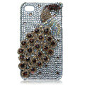 Bling Peacock S-warovski crystal cases for iPhone 4G - Brown