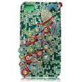 Bling Peacock S-warovski crystal cases for iPhone 4G - Cyan