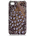 Bling Peacock S-warovski crystal cases for iPhone 4G - Espresso