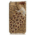 Bling Peacock S-warovski crystal cases for iPhone 4G - Gold