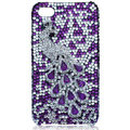 Bling Peacock S-warovski crystal cases for iPhone 4G - Purple