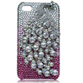 Bling Peacock S-warovski crystal cases for iPhone 4G - Silver