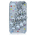 Bling Peacock S-warovski crystal cases for iPhone 4G - White