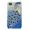 Bling Peacock S-warovski crystal cases skin for iPhone 4G - Blue
