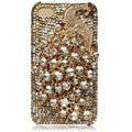 Bling Peacock S-warovski crystal cases skin for iPhone 4G - Gold