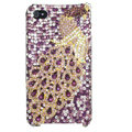 Bling Peacock S-warovski crystal cases skin for iPhone 4G - Purple
