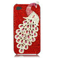 Bling Peacock S-warovski crystal cases skin for iPhone 4G - Red
