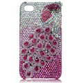 Bling Peacock S-warovski crystal cases skin for iPhone 4G - Rose