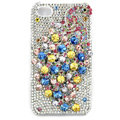 Bling Peacock S-warovski crystal cases skin for iPhone 4G - White