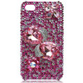 Bling bowknot S-warovski crystal cases for iPhone 4G - rose