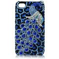 S-warovski Bling Peacock crystal cases for iPhone 4G - blue