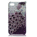 S-warovski Bling Peacock crystal cases for iPhone 4G - purple