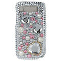100% Brand White Bling Hearts Crystal Diamond Plastic Hard Case For Nokia E71 E72
