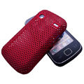 Slim Scrub Mesh Silicone Hard Cases Covers For Samsung i569 S5660 Galaxy Gio - Red