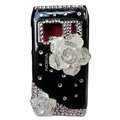 Bling Flowers Crystals Hard Plastic Cases Covers For Nokia N8 - Black