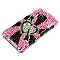 Bling Heart Crystals Hard Cases Covers For Nokia N8 - Pink