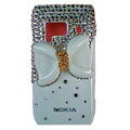 Bling bowknot Crystals Cases Hard Plastic Covers For Nokia N8 - White