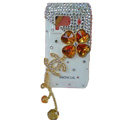 Four leaf clover bling Crystals Hard Cases Covers For Nokia N8 - Brown