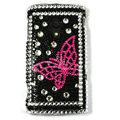 Bling Butterfly Crystals Hard Cases Covers For Sony Ericsson X10i - Black