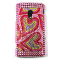Bling Heart Crystals Hard Cases Covers For Sony Ericsson X10i - Pink