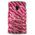 Bling Zebra Crystals Hard Cases Covers For Sony Ericsson X10i - Pink