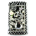 Bling flowers 3D Crystals Hard Cases Covers For Sony Ericsson X10i - Black