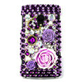 Bling flowers 3D Crystals Hard Cases Covers For Sony Ericsson X10i - Purple