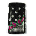 Bowknot Bling Crystals Hard Cases Covers For Sony Ericsson X10i - Black