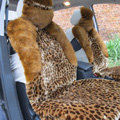 Winter Fleece Leopard Auto Seat Cushion Warm Plush Car Seat Covers - Brown