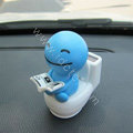 Cute Shake head doll Solar toilet sunny shook head doll Car decoration - Blue