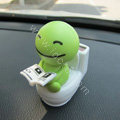 Cute Shake head doll Solar toilet sunny shook head doll Car decoration - Green