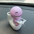 Cute Shake head doll Solar toilet sunny shook head doll Car decoration - Purple