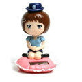 Cute Shake his head doll Solar Uniform Doll Uniform Fan Car decoration - Blue