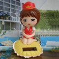 Cute Shake his head doll Solar Uniform Doll Uniform Fan Car decoration - Red