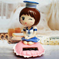 Cute Shake his head doll Solar Uniform Doll Uniform Fan Car decoration - White
