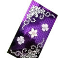 Bling Flower 3D crystal cases skin for your mobile phone model - Purple