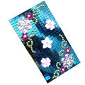 Flower 3D bling crystal cases covers for your mobile phone model - Blue EB003
