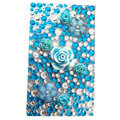 Flower 3D bling crystal cases covers for your mobile phone model - Blue