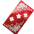Flower 3D bling crystal cases covers for your mobile phone model - Red