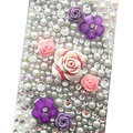 Flower 3D bling crystal cases covers for your mobile phone model - White EB002