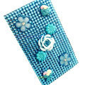 Flower 3D bling crystal cases skin for your mobile phone model - Blue