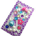 Flower 3D bling crystal cases skin for your mobile phone model - Purple