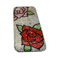 Bling covers Flower diamond crystal cases for iPhone 3G - White